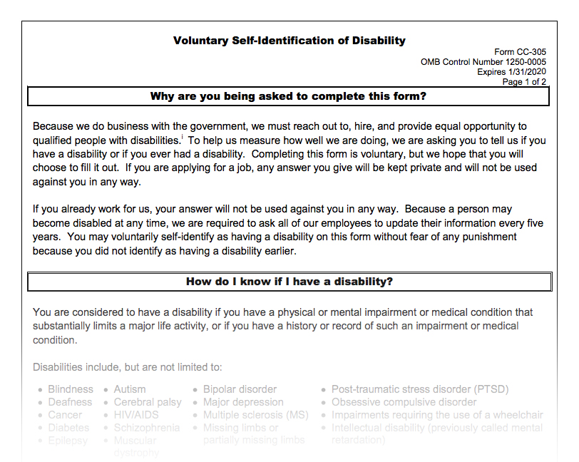 Ofccp S Disability Self Id Form Remains In Place